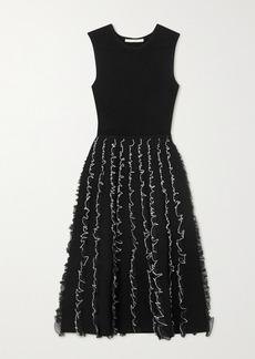 Jason Wu Two-tone Ruffled Stretch-knit Midi Dress