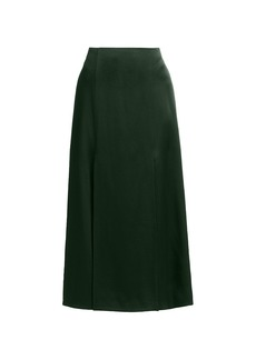 Jason Wu Vented Satin Midi Skirt