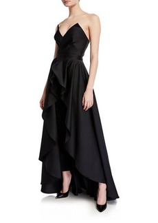 Jay Godfrey Abrahams Strapless Cropped Jumpsuit & Skirt Set
