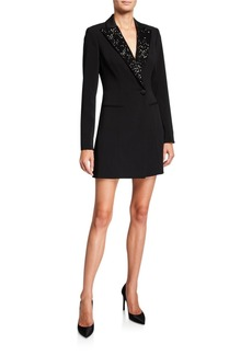 Jay Godfrey Ace Long-Sleeve Sequin-Collar Blazer Dress