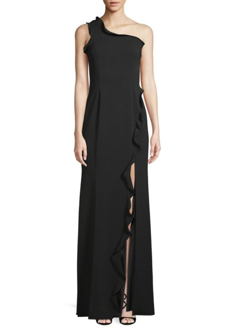 Jay Godfrey Alma One-Shoulder Ruffled Slit Gown