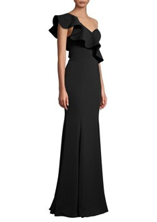 Jay Godfrey Bolt One-Shoulder Ruffle Gown