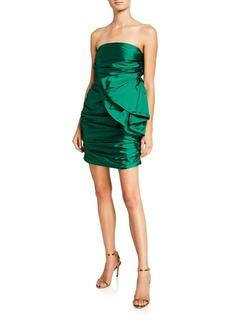 Jay Godfrey Brody Strapless Shirred Mini Dress with Bow