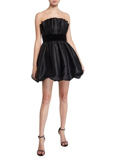 Jay Godfrey Lola Bubble Skirt Taffeta Bustier Mini Dress with Velvet Waistband