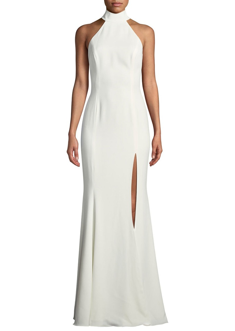 791ff14a853 Jay Godfrey Cameo Halter Trumpet Gown w  High Slit   Open Back