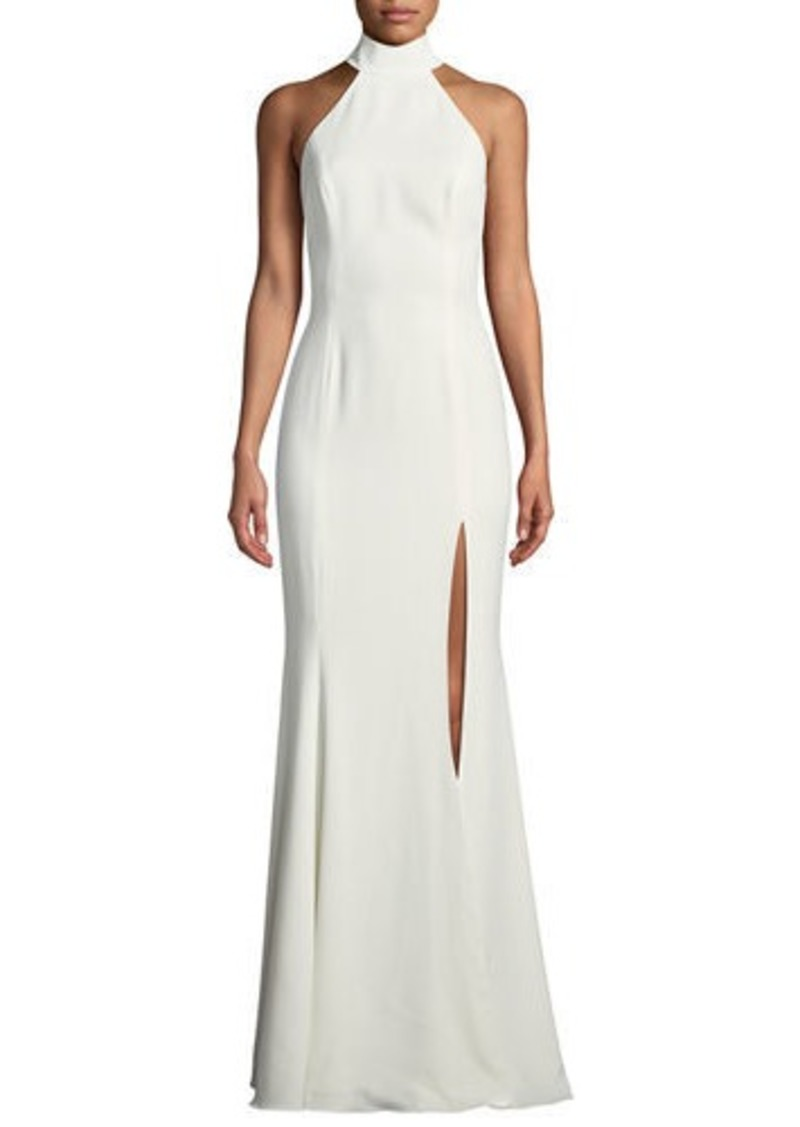 Jay Godfrey Cameo Halter Trumpet Gown w/ High Slit & Open Back | Dresses