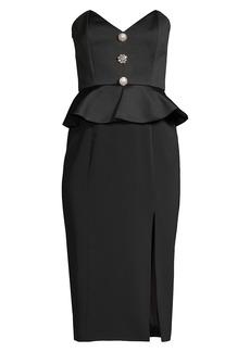 Jay Godfrey Campo Buttoned Peplum High-Slit Midi Dress