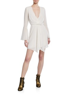 Jay Godfrey Dotted V-Neck Bell-Sleeve Drape-Front Mini Dress