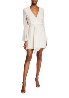 Jay Godfrey Dottie Dotted V-Neck Bell-Sleeve Drape-Front Mini Dress