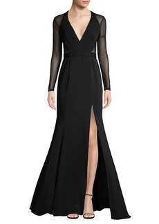 Jay Godfrey Edun Mesh Long-Sleeve Gown