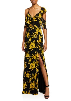 Jay Godfrey Floral-Print Cold Shoulder Asymmetric Ruffle Gown w/ Side Slit