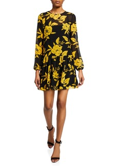 Jay Godfrey Floral-Print Long-Sleeve Drop Waist Mini Dress