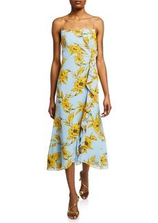 Jay Godfrey Floral-Print Square-Neck Spaghetti-Strap Ruffle Midi Dress