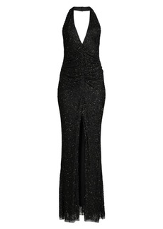 Jay Godfrey Gibb Ruched-Front Beaded Gown