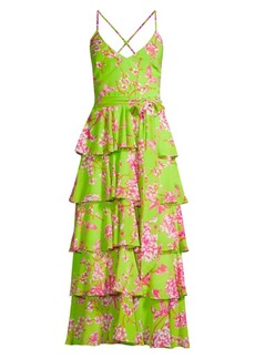 Jay Godfrey Hader Neon Floral Tiered Midi Dress