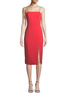 Jay Godfrey High-Slit Open-Back Midi Cocktail Dress