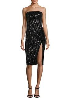 Jay Godfrey Astor Strapless Bustier High-Slit Sequin Cocktail Dress