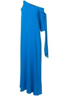 Jay Godfrey asymmetric tie sleeve gown - Blue