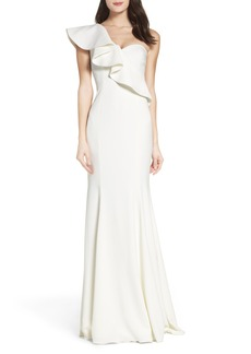 Jay Godfrey Bolt Ruffle One-Shoulder Gown