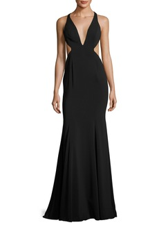 Jay Godfrey Deep V-Neck Mermaid Gown w/ Side Cutouts