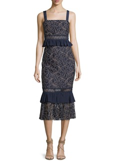 Jay Godfrey Essena Sleeveless Peplum Midi Dress
