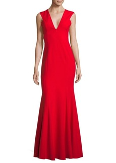 Jay Godfrey Flared V-Neck Floor-Length Gown