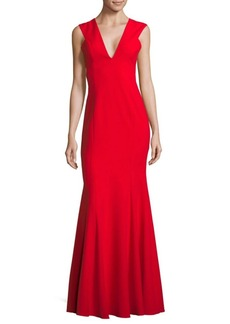 Jay Godfrey Flared V-Neck Floor-Length Gown