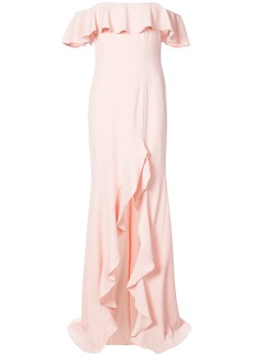 Jay Godfrey frill trim off the shoulder dress - Pink & Purple