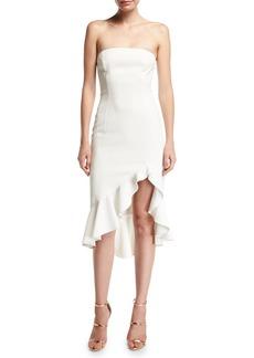 Jay Godfrey Harrington Strapless Bustier Ruffled High-Low Cocktail Dress