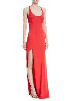 Jay Godfrey High-Slit Racerback Floor-Length Gown