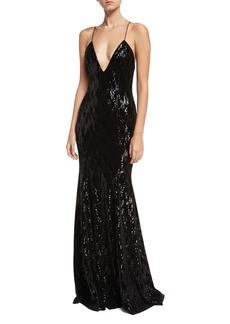 Jay Godfrey Major Deep V-Neck Sleeveless Velvet Sequin Evening Gown