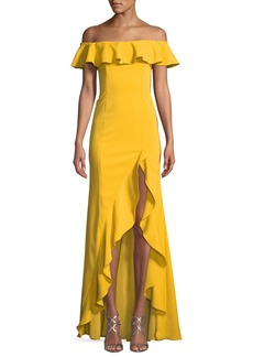 Jay Godfrey Off-the-Shoulder High-Low Ruffle Gown