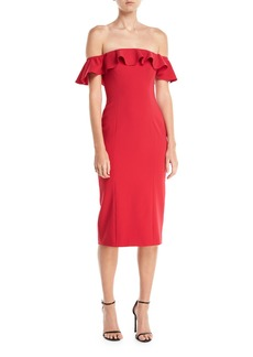 Jay Godfrey Rollins Off-the-Shoulder Ruffle Cocktail Dress