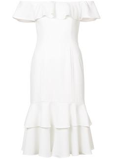 Jay Godfrey ruffled off shoulder dress - White