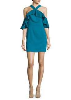 Jay Godfrey Ruffled Off Shoulder Silk Shift Dress