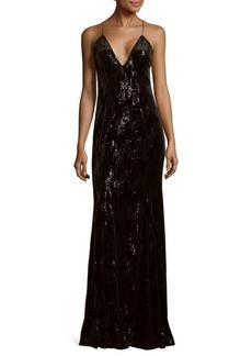 Jay Godfrey Sequin V-Neck Floor-Length Gown