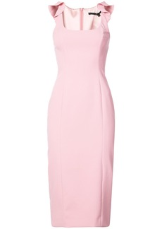 Jay Godfrey sleeveless ruffled midi shift dress - Pink & Purple