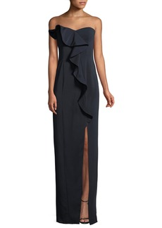 Jay Godfrey Strapless Ruffle Gown w/ Front Slit