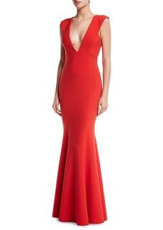 Jay Godfrey Victoria Sleeveless Deep V-Neck Mermaid Evening Gown
