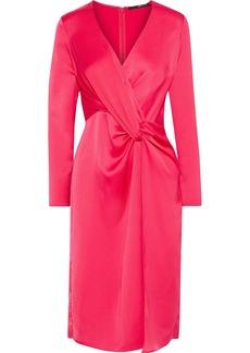 Jay Godfrey Woman Coats Twist-front Satin-crepe Dress Crimson