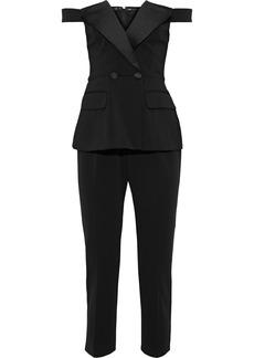 Jay Godfrey Woman Gwen Cropped Off-the-shoulder Crepe Peplum Jumpsuit Black