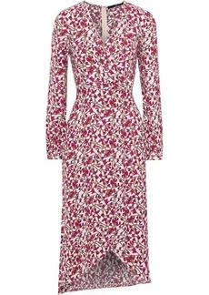 Jay Godfrey Woman Kareem Wrap-effect Floral-print Crepe Midi Dress Magenta