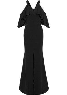 Jay Godfrey Woman Mongomery Cold-shoulder Crepe-paneled Twill Gown Black