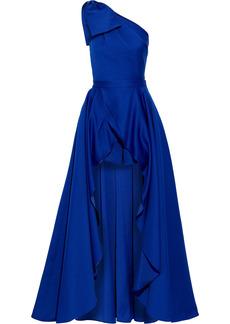 Jay Godfrey Woman Yany One-shoulder Bow-embellished Duchesse-satin Gown Royal Blue