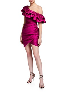 Jay Godfrey Jolene Shirred One-Shoulder Mini Satin Ruffle Dress