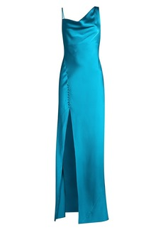 Jay Godfrey Justine Draped Bias-Cut Satin Gown