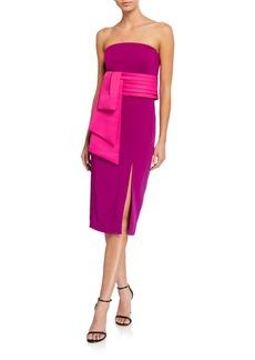 Jay Godfrey Kia Strapless High Slit Stretch Crepe Dress with Removable Belt