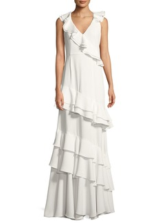 Jay Godfrey Kingston Asymmetric Ruffle Gown