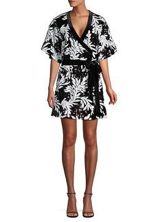 Jay Godfrey Lanai Sequin Palm-Print Wrap Dress