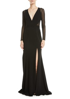 Jay Godfrey Long-Sleeve Illusion Plunge Gown